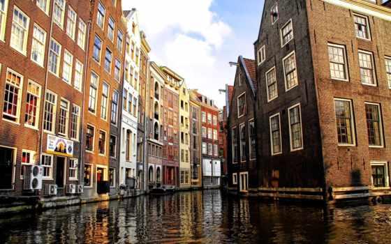 канал, amsterdam, амстердаме