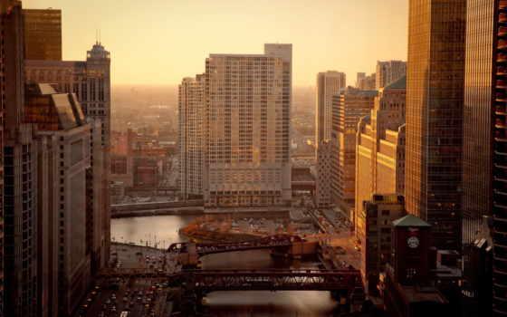 город, утро, chicago