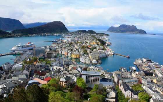 норвегия, alesund, картинка, горы, небо, море, изображение, ålesund, город,