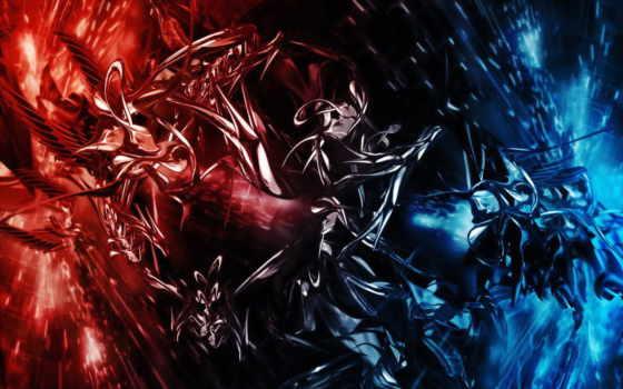 красное, абстракции, синее
