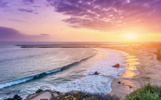 пляж, ultra, desktop, corona, del, закат,