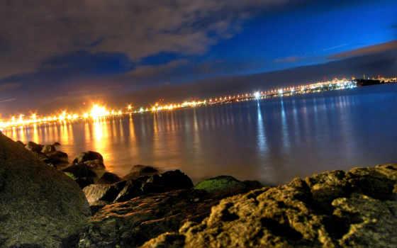 окно, красивый, взгляд, берег, ночь, город