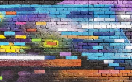 graffito, graffiti, стена, brick, краска, текстура, фон, colorful