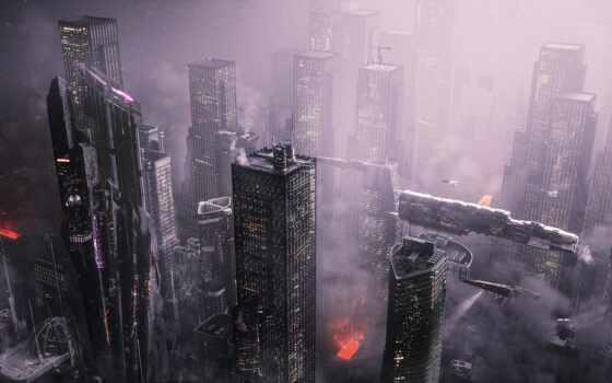 город, commercial, будущее, wolverine, герой, небо, action, фокс, fantasy, art, load