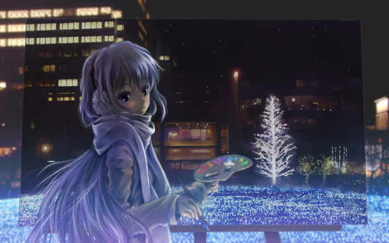 picture, anime, night, brush, paints, tags, artist, категории, totuka,