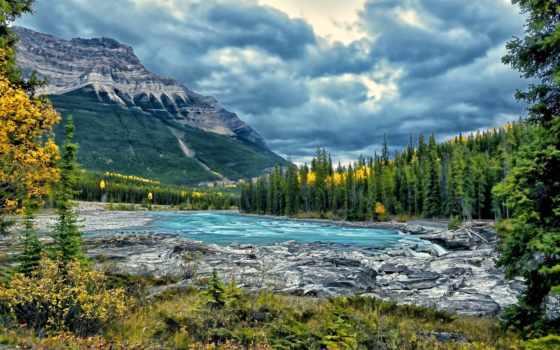 горы, река, лес
