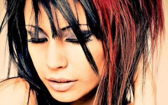 волосы, волос, dark, long, color, highlights, black, лицо, взгляд, red,