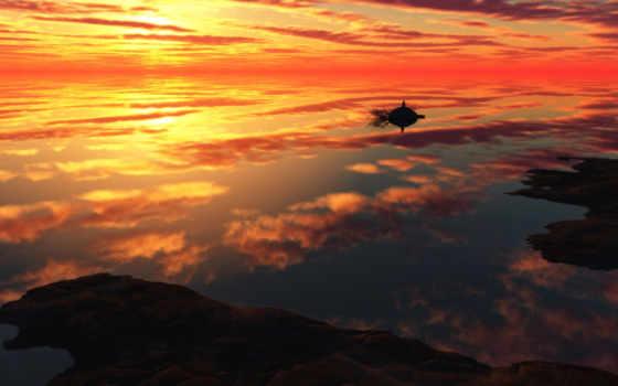 seat, фронтовой, row, ocean, images, отражение, закат, оранжевый,