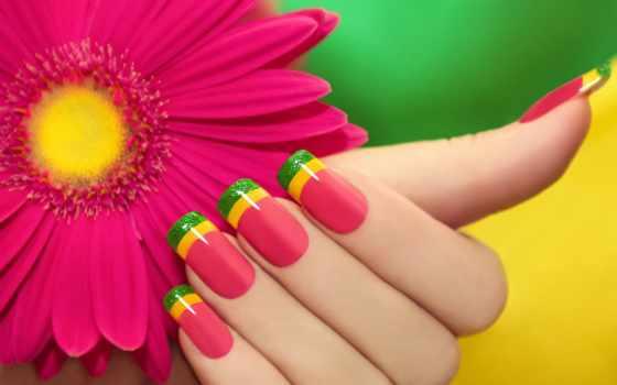 маникюр, ногти, цветы, яркие, ногтей, summer, картинка, positive, косметика,