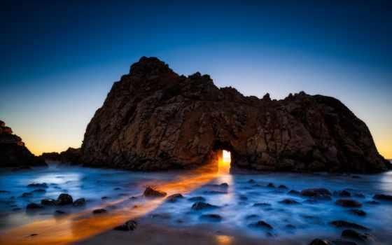 sur, биг, пляж, pfeiffer, california, ocean, rock,