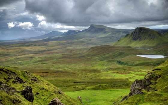 scotia, горы, шотландии, луга, закат, море,