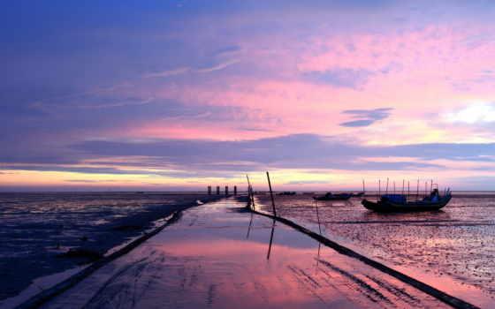 pier, one, моря, море, click, лодки, landscape, закат, океаны, метки, природа,