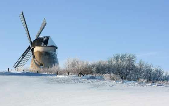 winter, mill, снег, поле, ветер