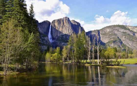 осень, гора, national, природа, park, картинка, сша, kalifornii, водопад, yosemite, canvas