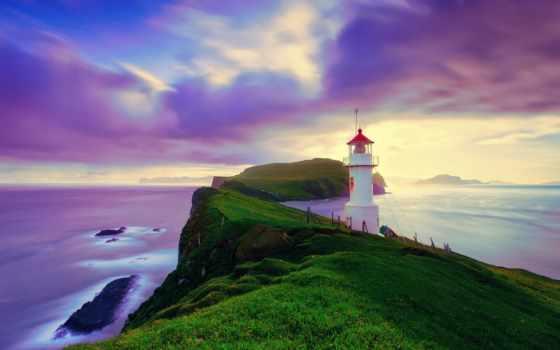 маяк, берегу, зеленом, острове, картинку, скалистом, закате, маяки,