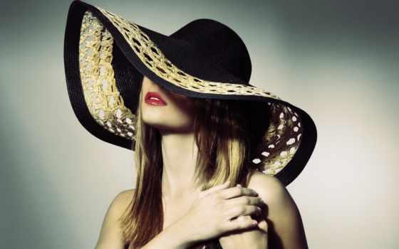 шляпе, женщина, растровый