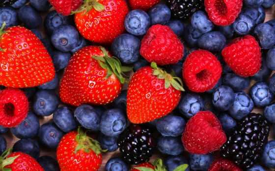 ягоды, малина, клубника