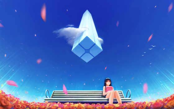 anime, девушка, одиночка, скамейка, небо, blue, desktop,