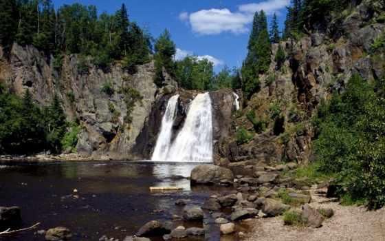 водопад, скалистый, красивые, реке, щёлкните, карте, заставки,
