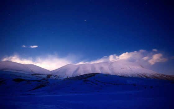 небо, звездное, звезды, горы, снег, ночь,