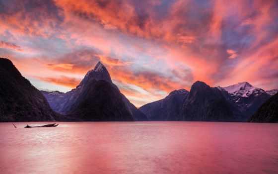 milford, sound, fjord, саунд, розовый, zealand, новая, ratcliff, trey, море,