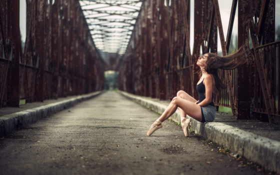 девушка, балерина, мост, дорога, макро, мосту, лай, moonbat, early,