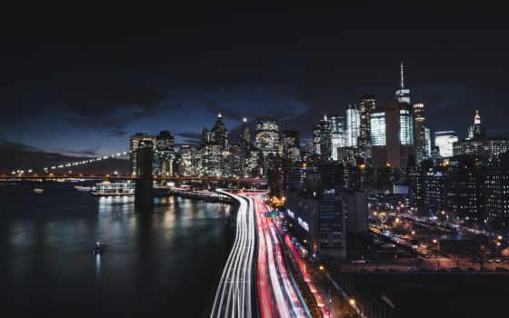 new, york, город, ночь, manhattan, cityscape,