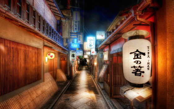 япония, знаки, иероглифы, картинка, улица, lantern, дороги, band, ночь, город,