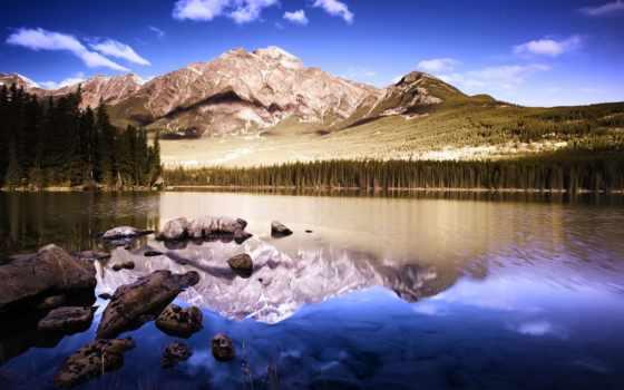 природа, рай, горы, гора, озеро, торт, трио, foot, отражение,
