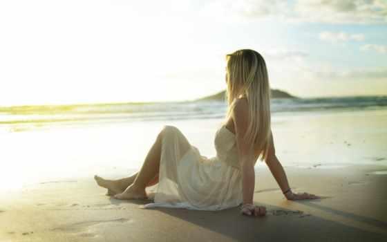 девушка, платье, моря, море, берегу, сидит, светлом, спины, devushki,