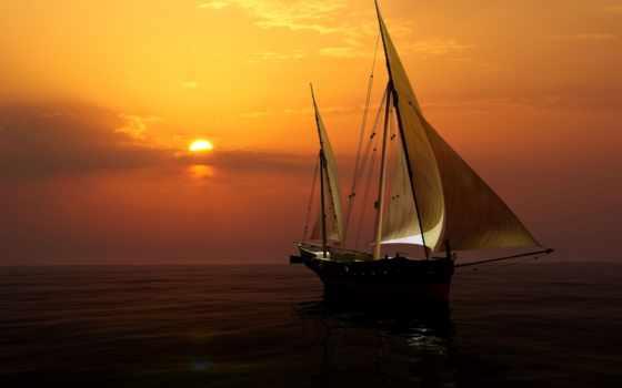 паруса, море, закат, небо, корабли, корабль, горизонт, яхта, sun, свечение,