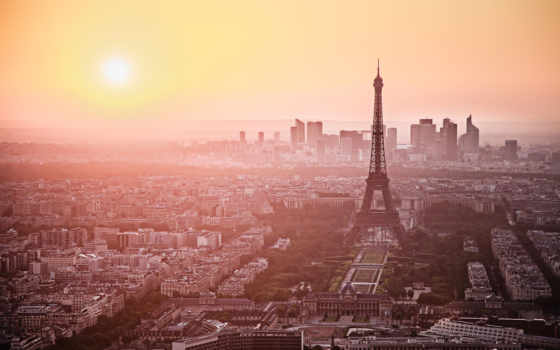 париж, франция, turret, эйфелева, город, рассвет,