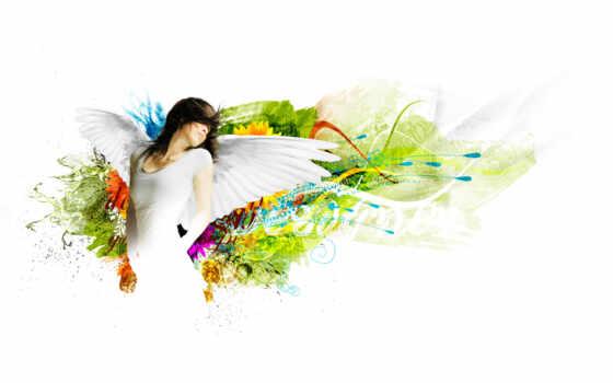 белый, платье, узоры, крылья, шатенка,