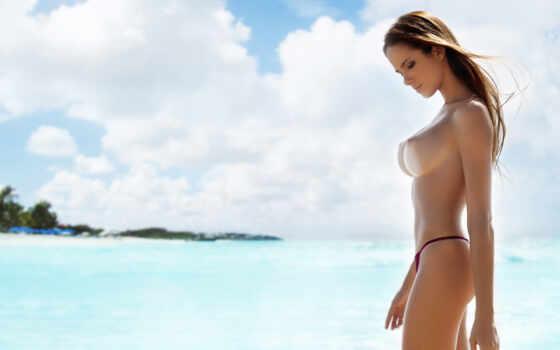 топлес, девушка, море
