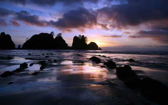 закат, ocean, море, камни, берег, rock, песок, trees, острова, пальмы, отражение,