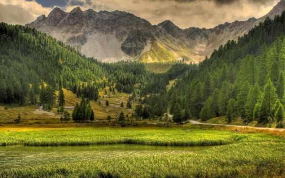 горы, озеро, природа, небо, trees, landscape, oblaka, трава, дорога, лес,