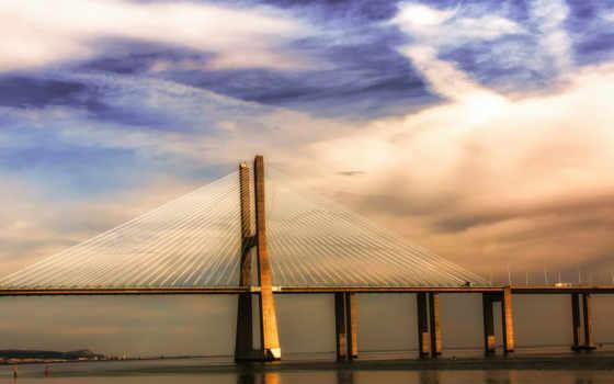 lisbon, португалия, мост, река, синее, тахо, город, lisboa,