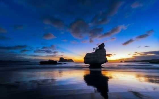 море, картинка, небо, rock, берег, облако, закат, камень, прилив