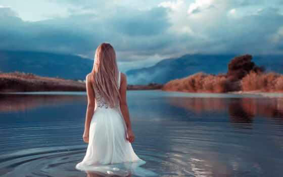 water, девушка, спина, коллекция, фото, платье, knee, под, stand