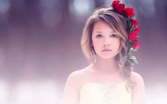 девушка, cute, роза, red, portrait, fine, art,