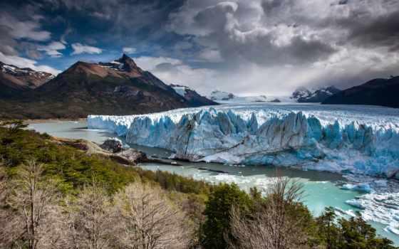 , ледник, ледник, фон, аргентина, лес, горы