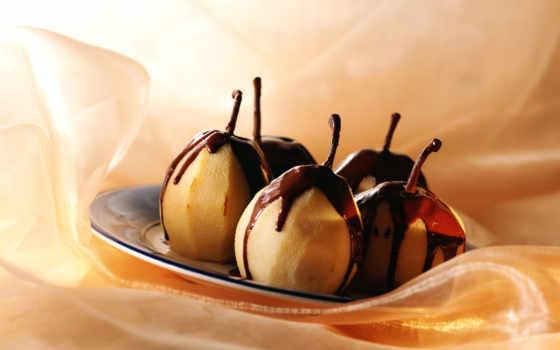 широкоформатные, шоколаде, еда, фрукты, груши, заставки, разных, макро, chocolate, разрешениях,