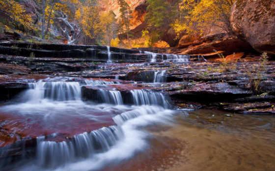 landscape, осень, водопадом