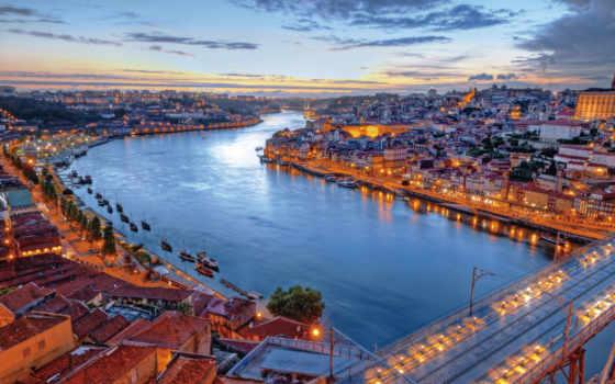 река, португалия, lisbon, здания, вечер, тежу, взгляд, берег,