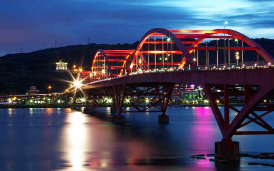 мост,огни,вечер, мегаполис, duvar, ночь,