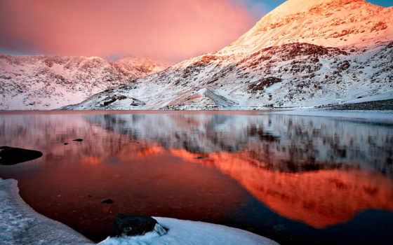 природа, озеро, гора