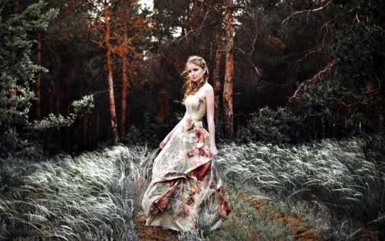 девушка, платье, природа, фея, взгляд, лес, hairstyle, trees, ветер, стоковые, art,