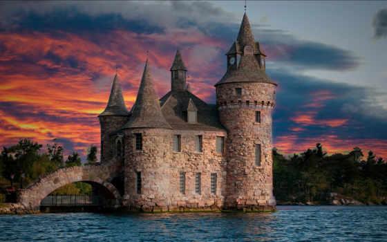castle, закат, небо, oblaka, trees, озеро, река, turret, закате, landscape,