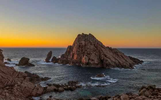 море, rock, ocean, formation, фото, во, закат, побережье, collect, water, австралия