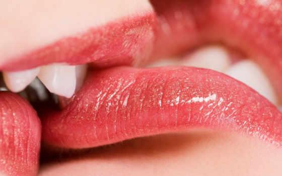 поцелуй, губы, помада